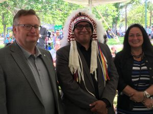 GREATER SASKATOON CATHOLIC SCHOOLS 7TH ANNUAL POWWOW-THORNTON PARK -FSIN 2ND VICE CHIEF DAVID PRATT & DIANE BOYKO, BOARD CHAIR GSCS