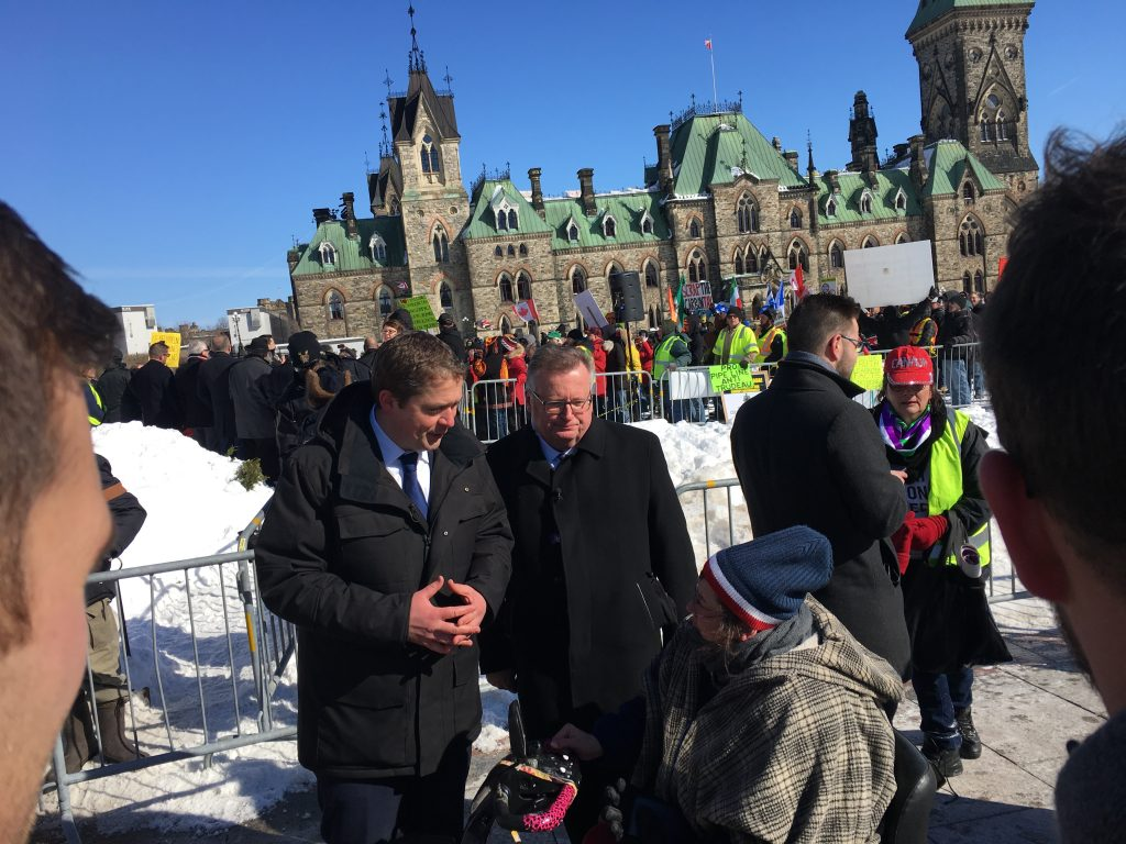 CONSERVATIVE LEADER ANDREW SCHEER AND MYSELF SPEAKING WITH CONCERNED CANADIANS FROM THE UNITED WE ROLL CONVOY THAT CAME TO OTTAWA
