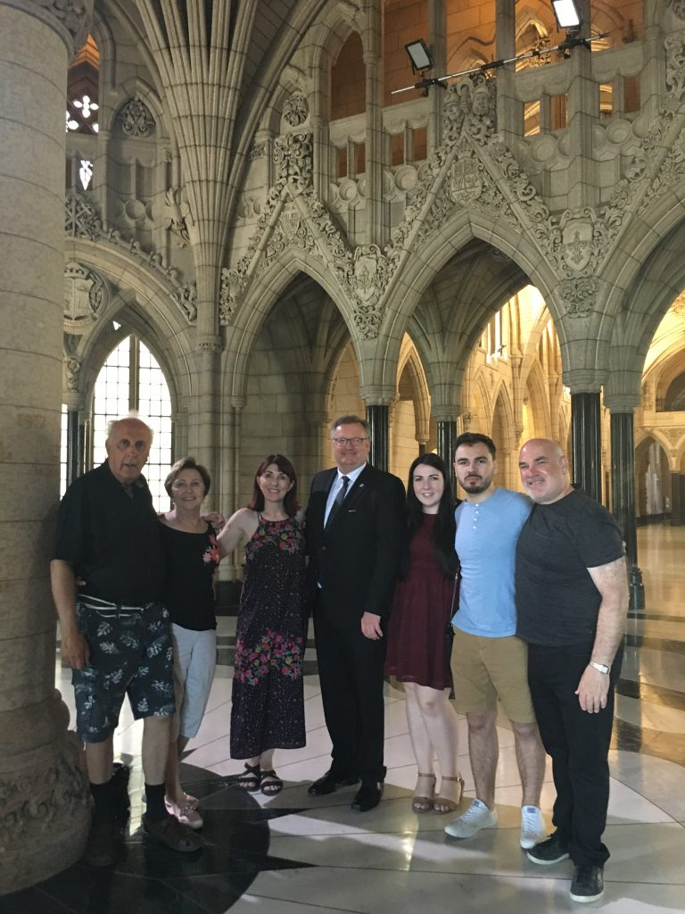 RON, SHANNON, MAXWELL, MOLLY WALDMAN AND DARLENE & JAMES CHAMBERLAIN-CONSTITUENT TOUR OF PARLIAMENT
