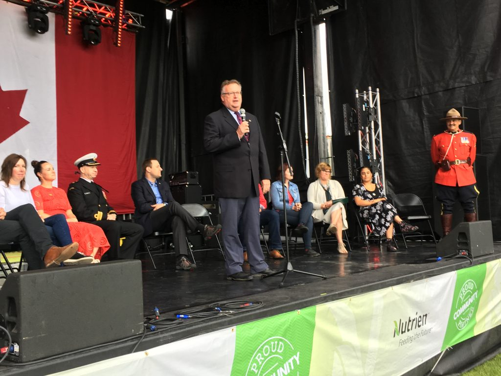 Bringing greetings at Canada Day in Diefenbaker Park