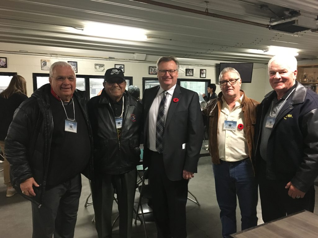 GARRY PETERS, FRED SASKAKAMOOSE, GERRY PINDER, JACK NORRIS-CANADIAN 80+ HOCKEY HALL OF FAME