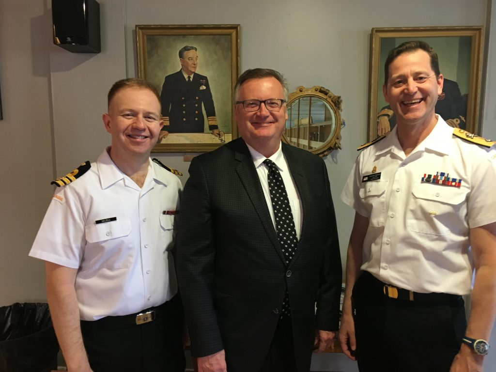 HMCS UNICORN MATT DALZEL & COMMANDER CRAIG SKJERPEN, CANADIAN FLEET ATLANTIC AT THE FRIENDS OF THE NAVY RECEPTION